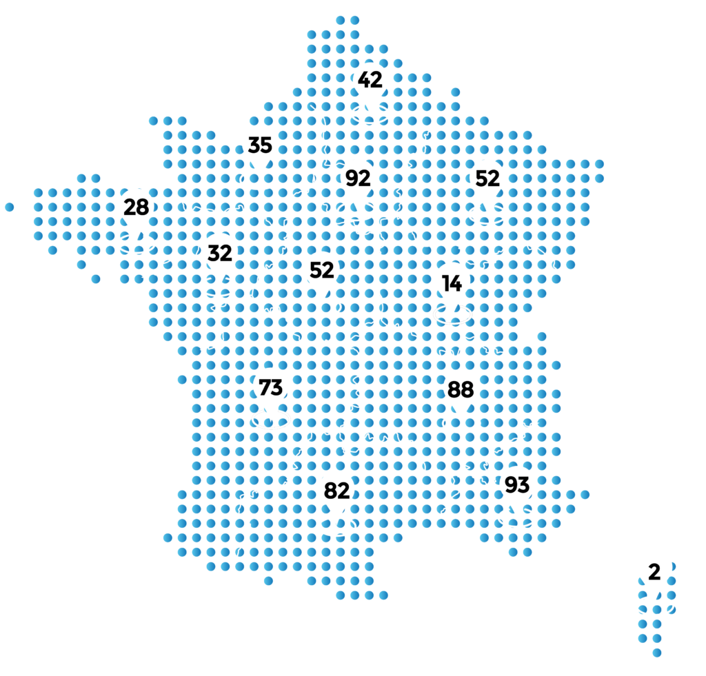 Map of France showing cities that use YouTransactor services for electronic fines